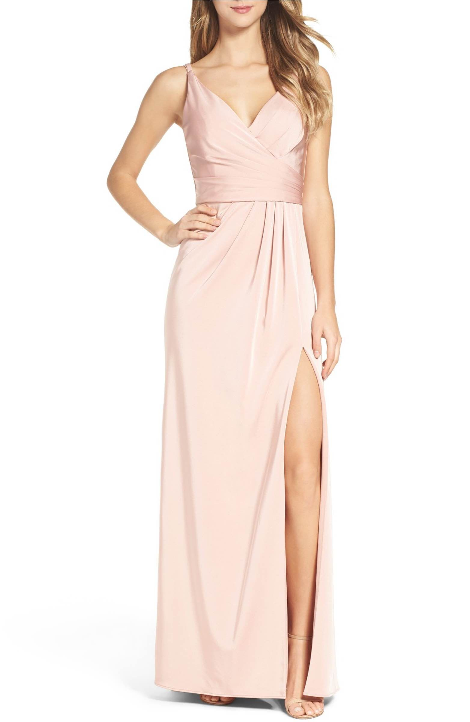 Main image xscape cross back side pleat satin gown prom