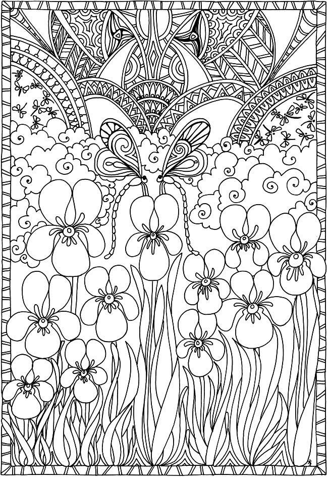 Dragonflies and flowers | Adult Coloring | Printables | Pinterest ...