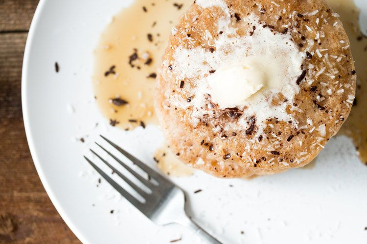 gluten free vegan coconut pancakes   RECIPE on hotforfoodblog.com