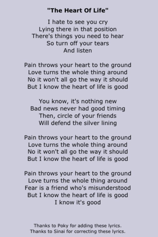 The Heart of Life by John Mayer | lyrics | Pinterest