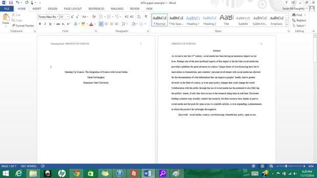 Formatting APA Style in Microsoft Word 2013 | Education | Apa essay