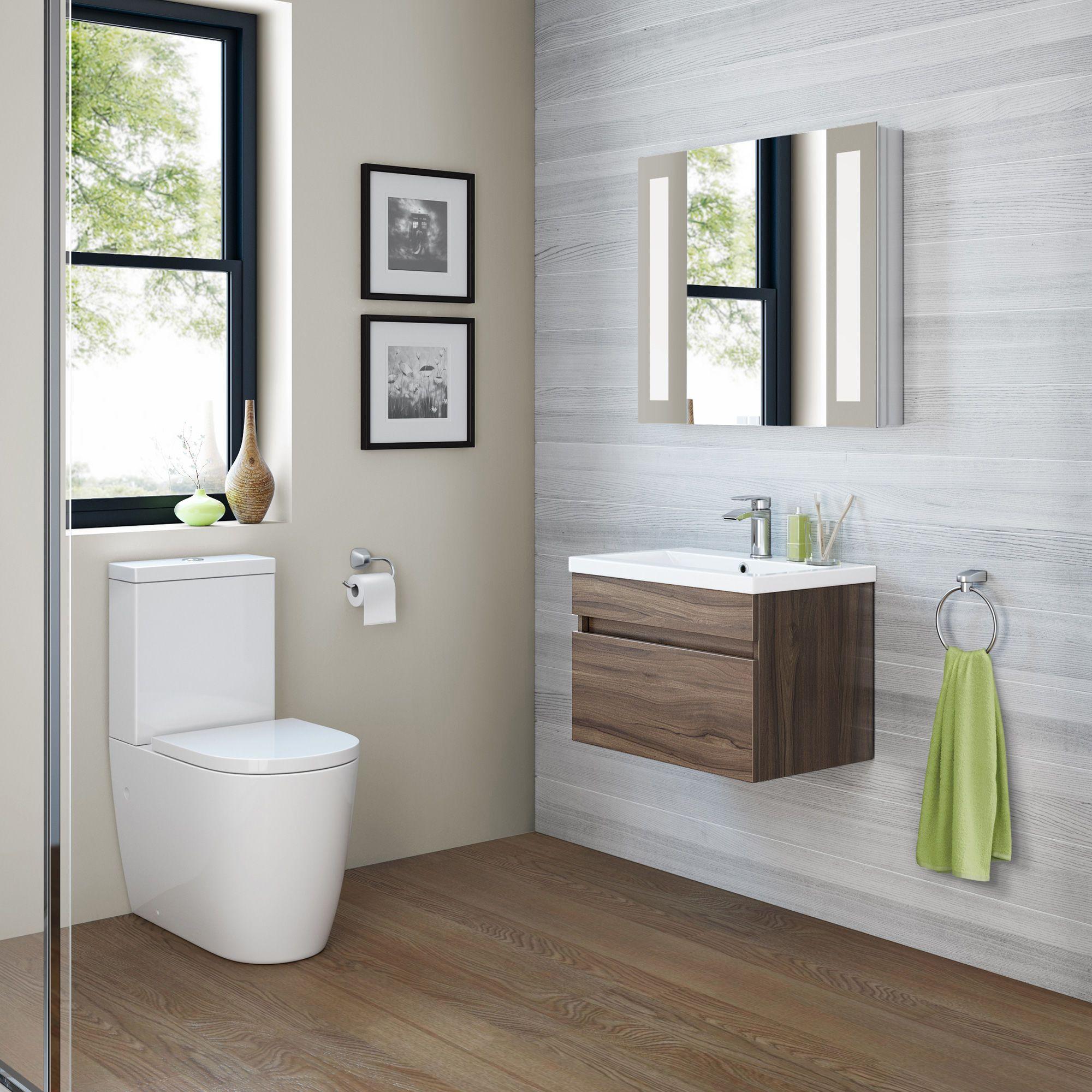 600mm Trent Walnut Effect Basin Cabinet Wall Hung Basin Cabinet Bathroom Basin Cabinet Bathroom Design