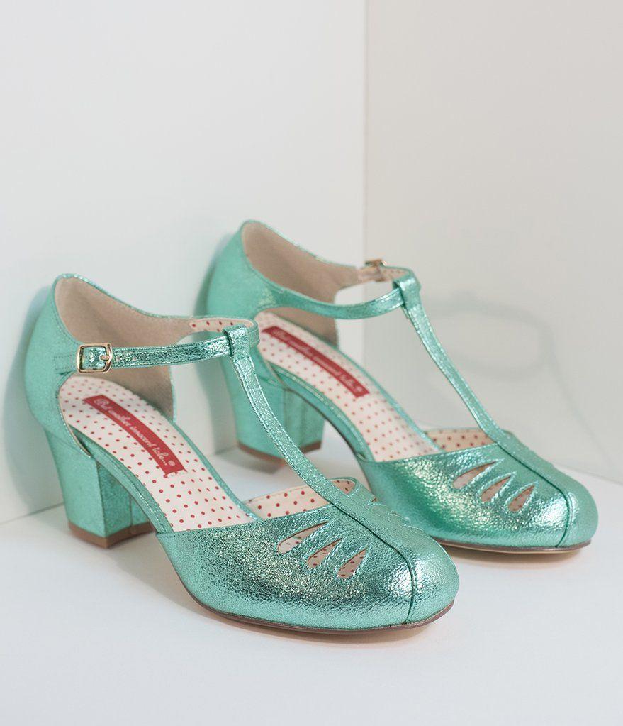 548034d0b3a B.A.I.T. 1940s Style Sparkling Mint T-Strap Robbie Heels in 2019 ...