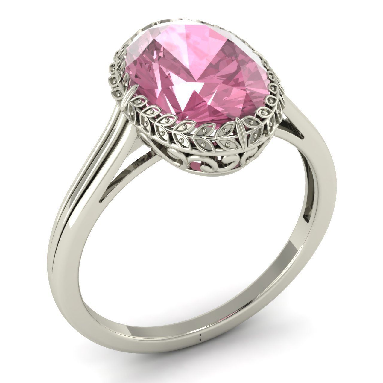 Certified 3 08 Ct Pink Tourmaline Vintage Look Solitaire Ring in 14k White Gold | eBay