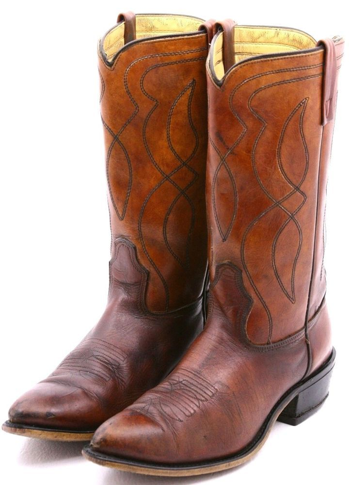 a59dba1745ac0 Details about Brown Circle A Acme Cowboy Western Boots Leather Men's ...