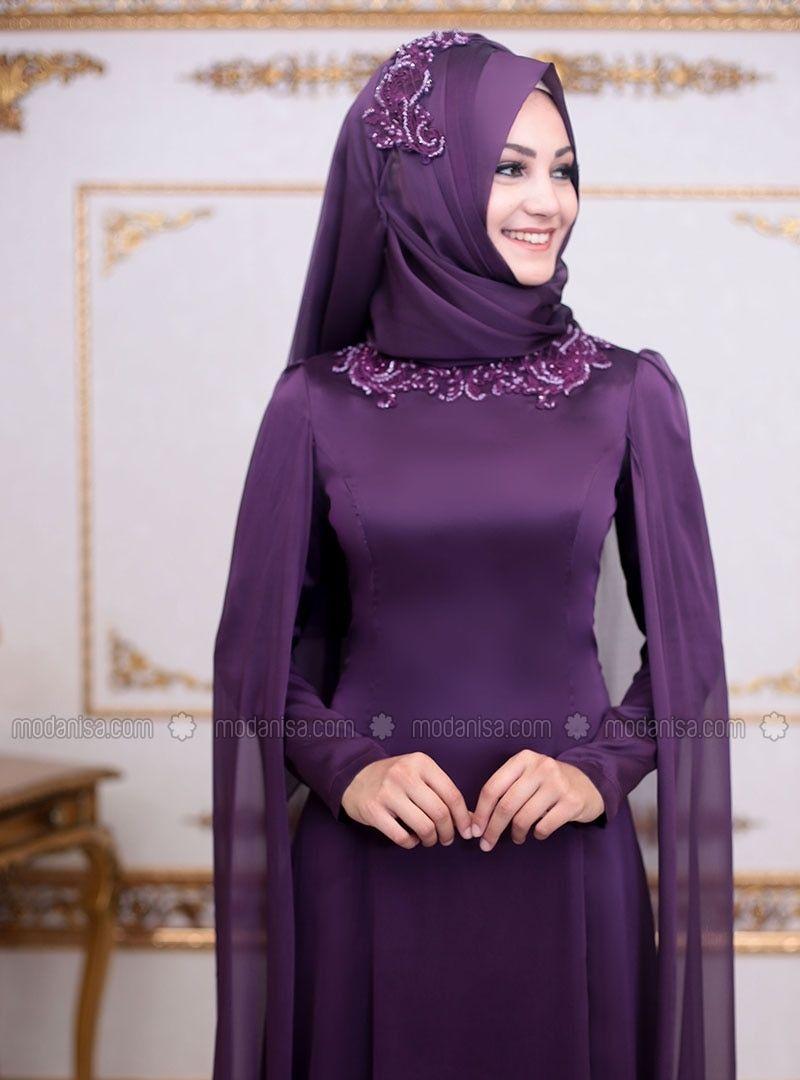 95e4c9c3a2 Purple - Fully Lined - Crew neck - Muslim Evening Dress - An-Nahar ...
