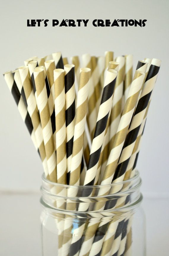 Black and Gold Paper Straws, 50 Stripe Metallic Gold Straws, Cake Pops, Gold Weddings, 50th Birthday Party, Black and Gold Party, Diy Flags on Etsy, $8.00