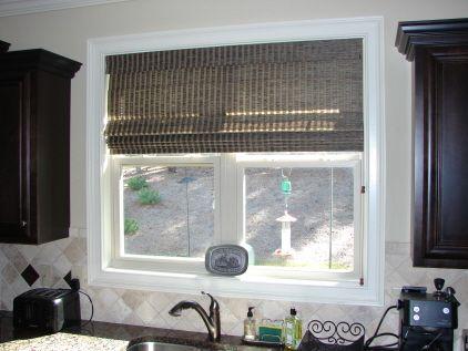 Custom Roman Shades In A Kitchen Window With Dark Cabinets. Beautiful  Pairing! | Horizons