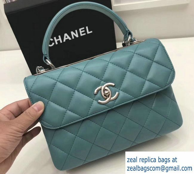 176ca8bdde2d9a Chanel Trendy CC Small Flap Top Handle Bag A92236 Turquoise/Silver 2017