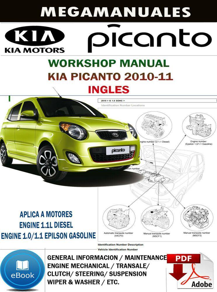 Workshop Manual Kia Picanto 2010 11 Service Repair Ebay Kia Picanto Picanto Kia
