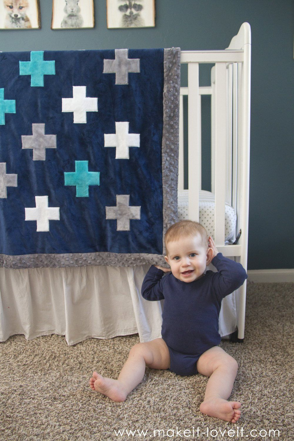 Selfbinding minky blanketwith a plussign applique blanket