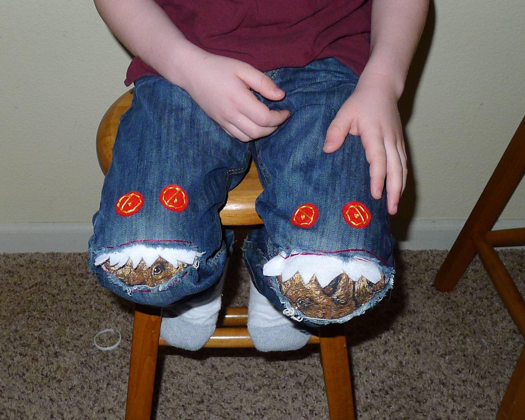 Monster Pants Sew Felt Teeth Onto Fabric Sew The Fabric