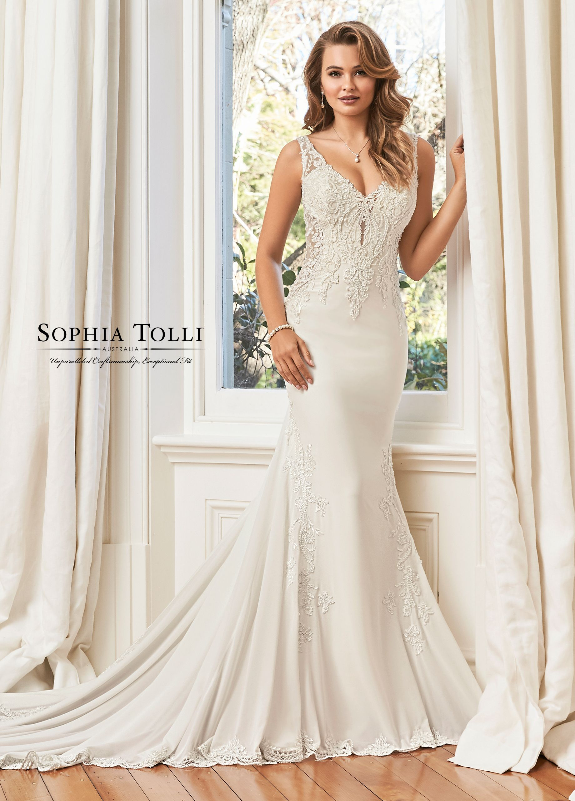 Lace Chiffon Fit And Flare Wedding Dress Y11950 Summer Online Wedding Dress Sophia Tolli Wedding Dresses Strapless Wedding Dress Sweetheart [ 2560 x 1840 Pixel ]