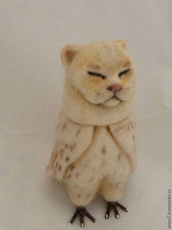 Купить Котосов Зефир - белый, кот, сова, котосов, owlcat, кошка игрушка, кошка войлок