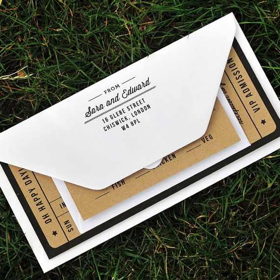 Recycled Wedding Invitations: Rustic Recycled Ticket Wedding Invitation / 'Just The