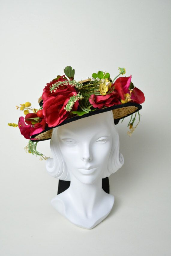 Vintage 1940s 40s Hat Straw Halo Tilt Vogue Hat With Millinery Flowers Berries Vintage Halo Hats