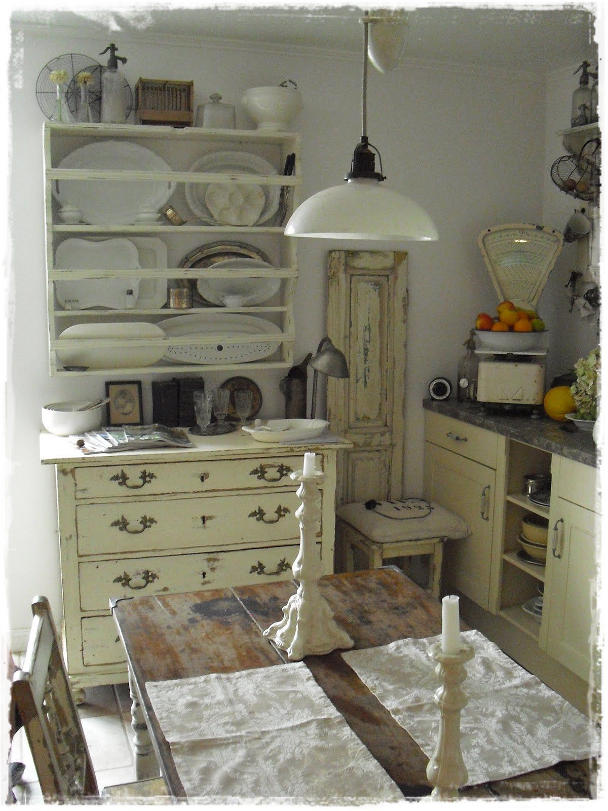 Kitchen whitewashed chippy shabby chic french country rustic swedish
