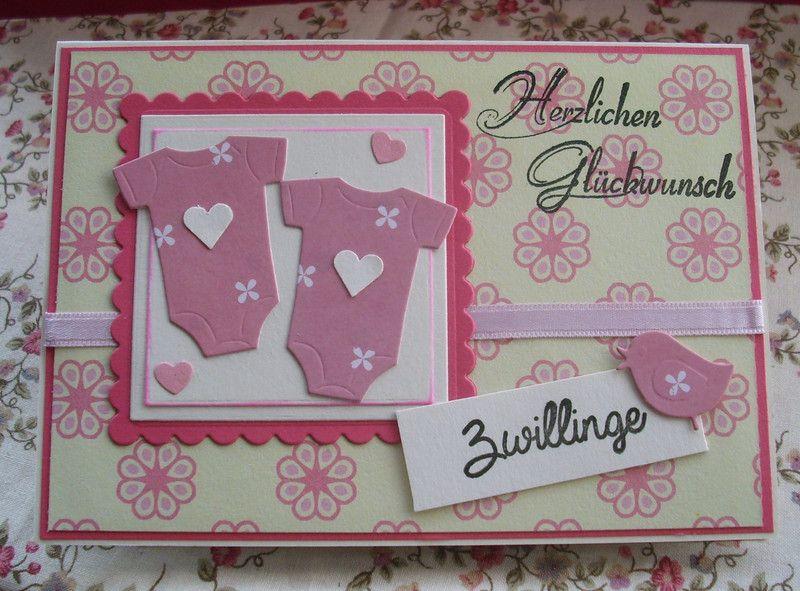 Glückwunschkarten Karte Zur Geburt Oder Taufe Zwillinge