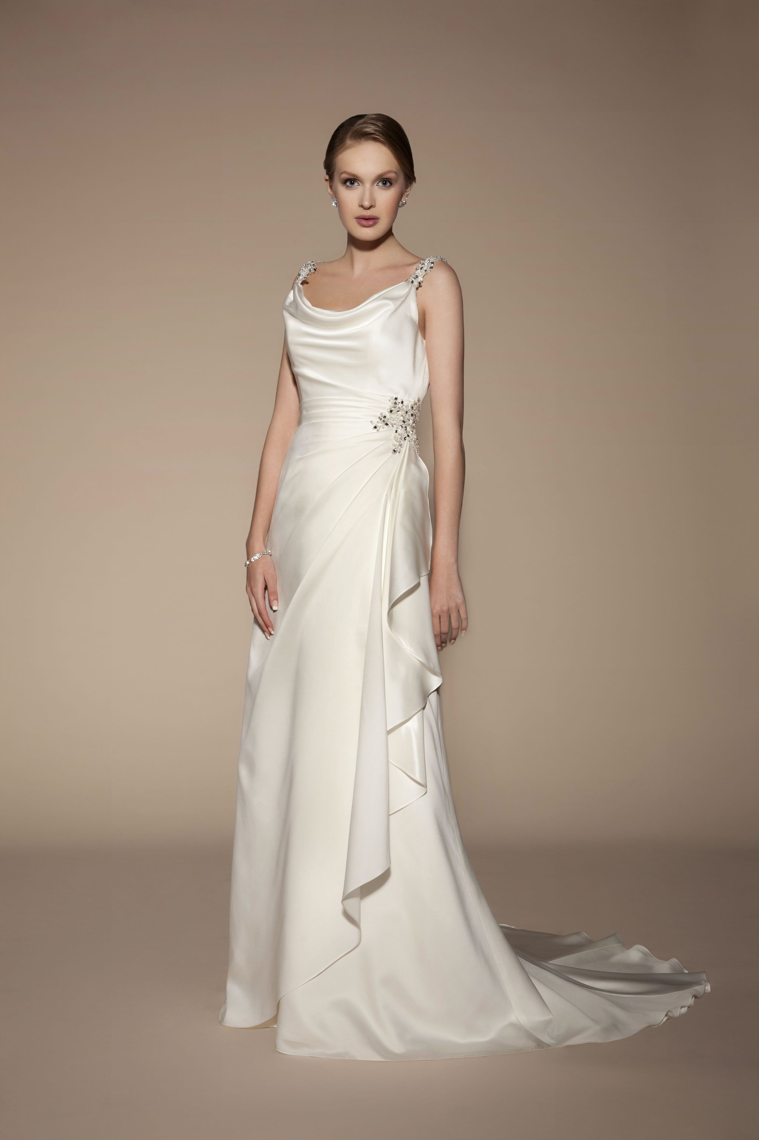 Vintage cowl neck wedding dress  Real brides help to inspire the Tia Bridal collection for