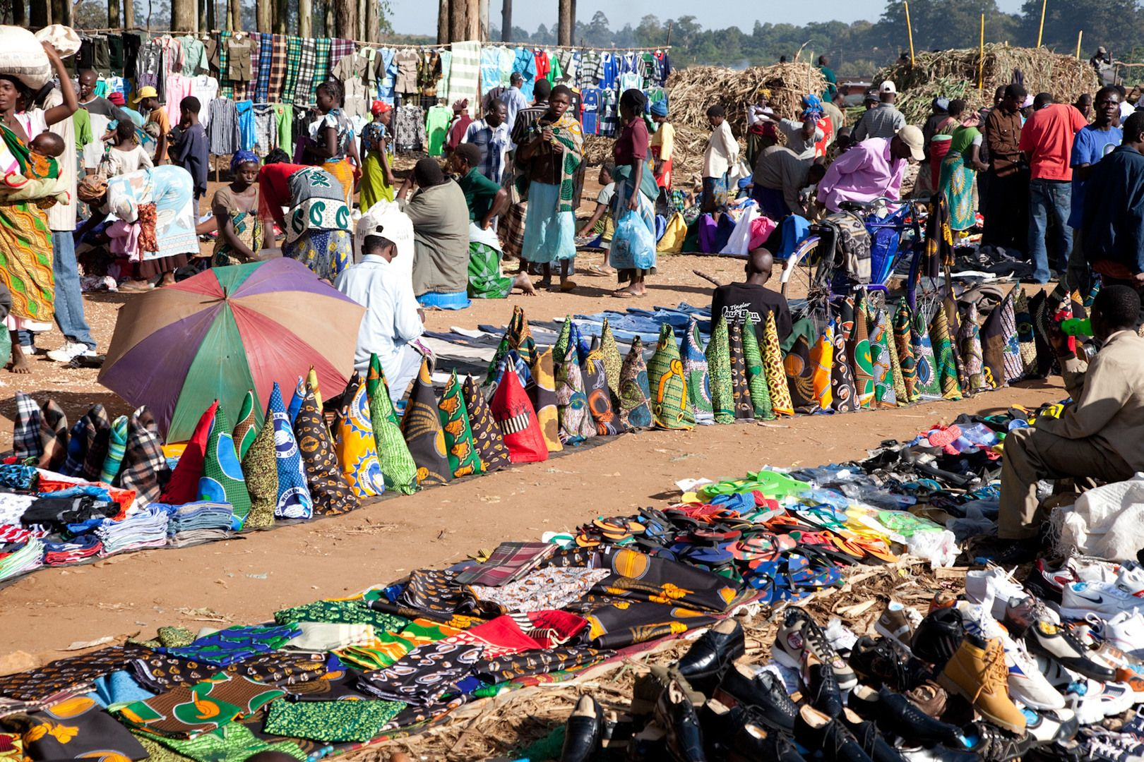MALAWI: Colorful and ornate fabric for sale at the Malawi ...