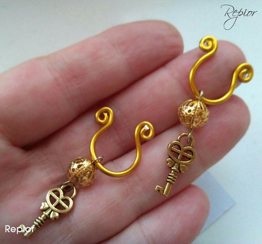 Gold Key Nipple Rings Handmade by Repior