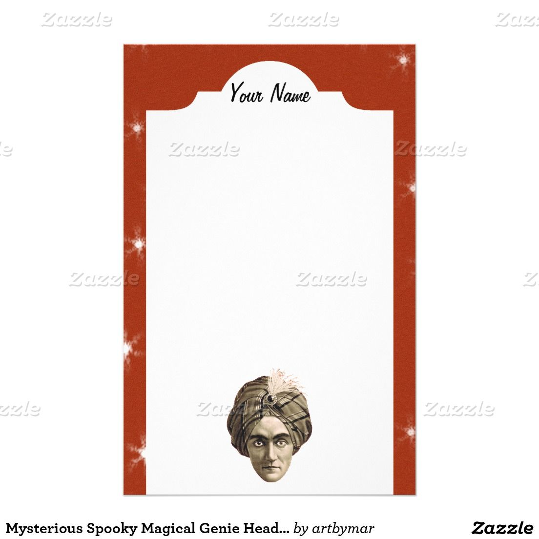 Mysterious Spooky Magical Genie Head Face Turban Stationery