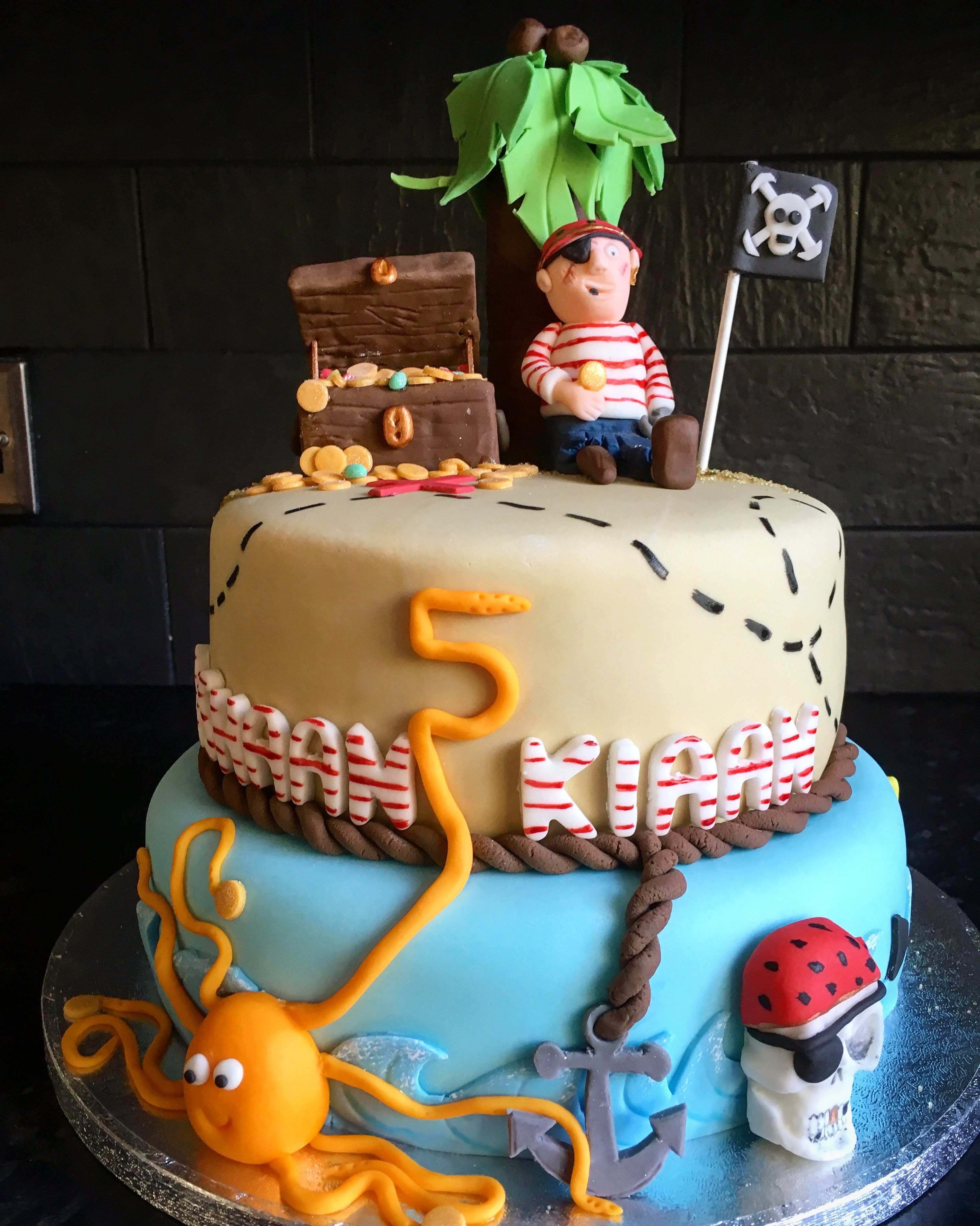 Swell Two Tier Pirate Birthday Cake Med Billeder Personalised Birthday Cards Rectzonderlifede