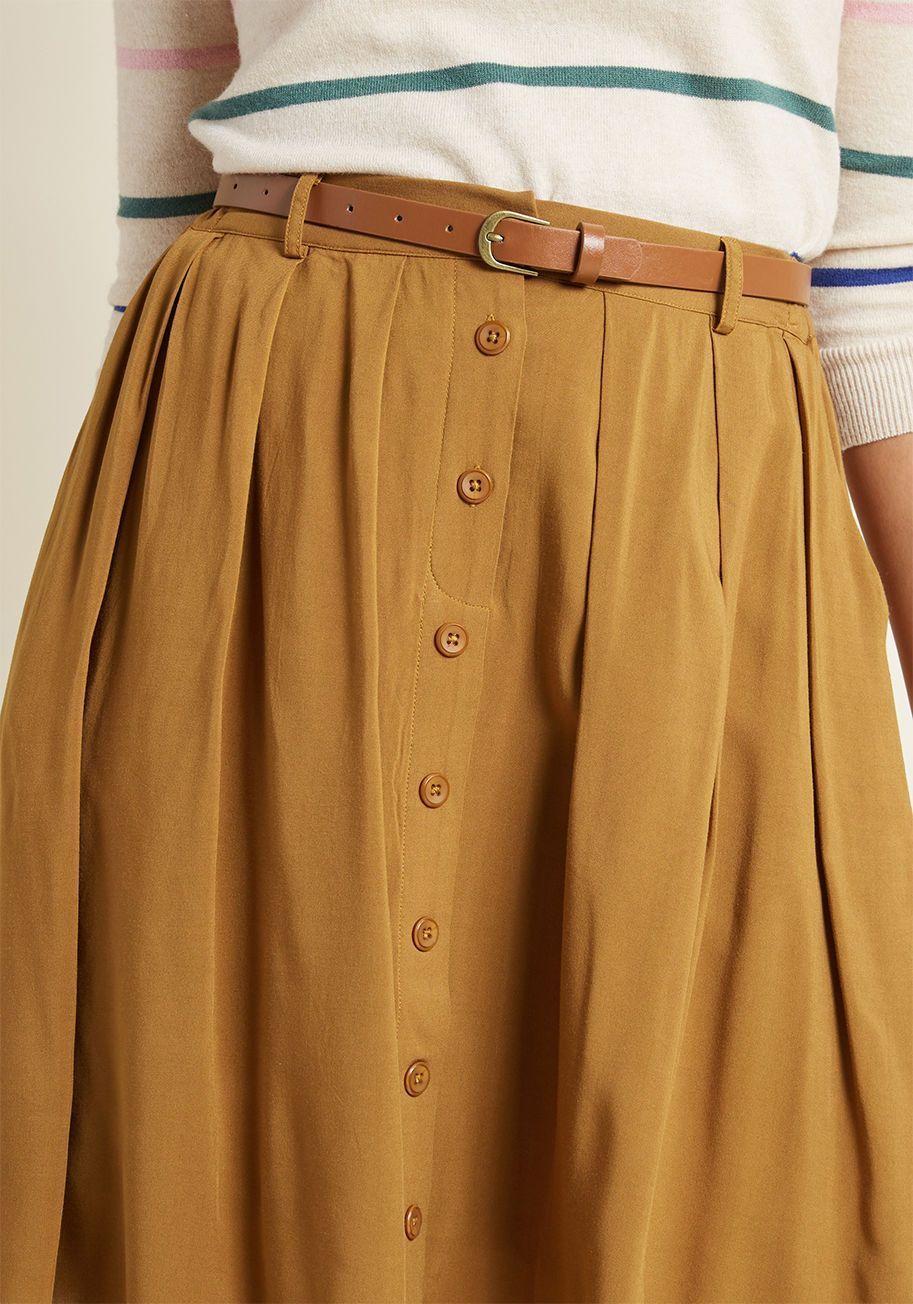 Best A-Line Skirt Bookstore's Best A-Line Skirt in Butterscotch | ModCloth