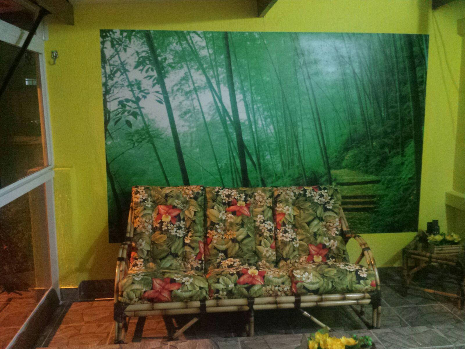 Arte De Paisagem Pintado Em Parede De Sala Pintura Residencial  -> Arte Parede Sala