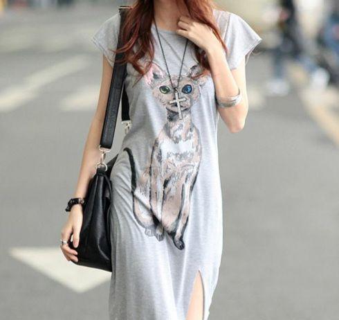 Vestido cinza gato modelo