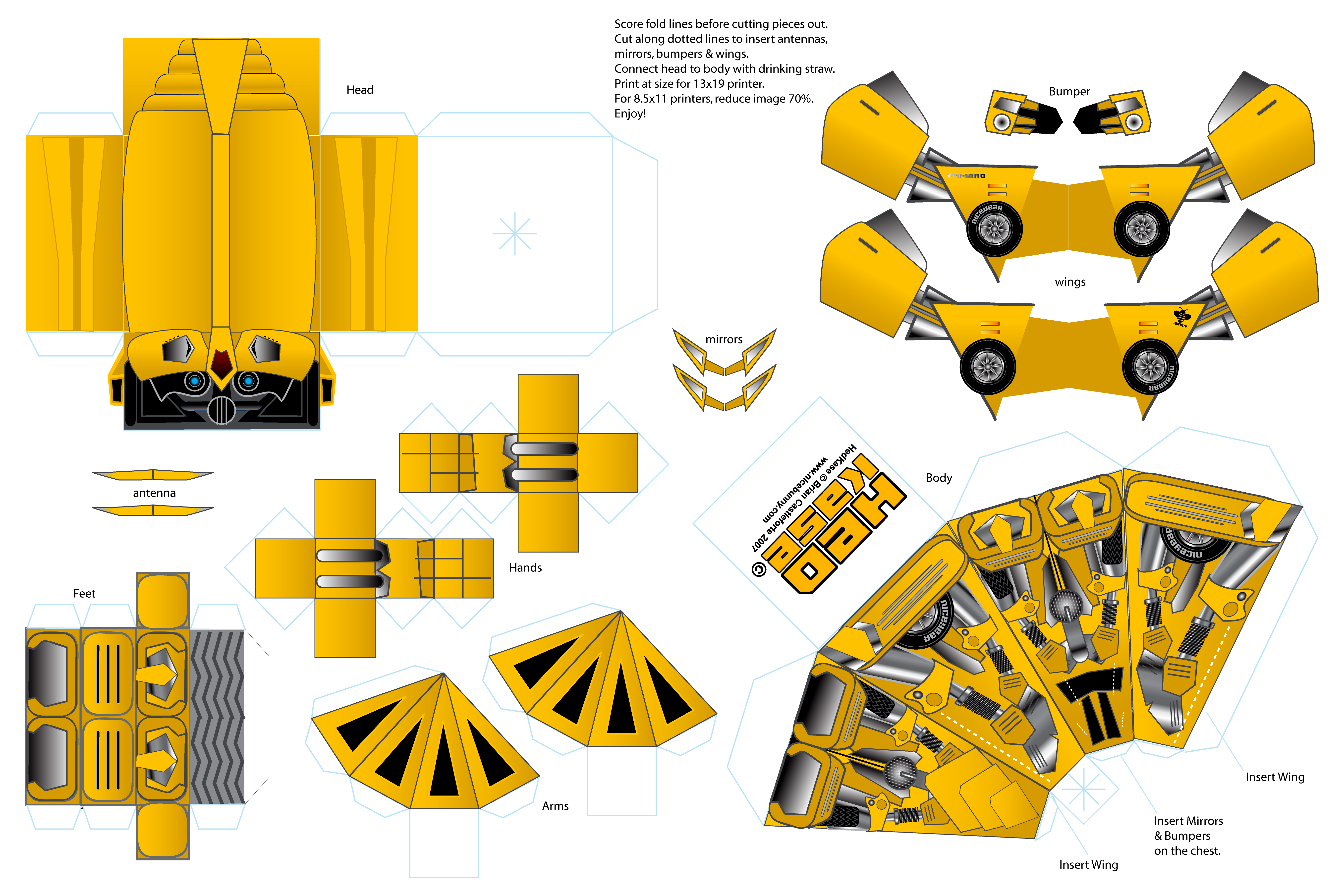 Transformer Bumblebee Costume Template