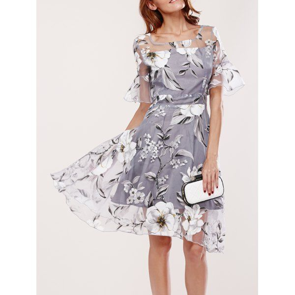 37e83d93961 Spliced Flare Sleeve Floral Print Dress