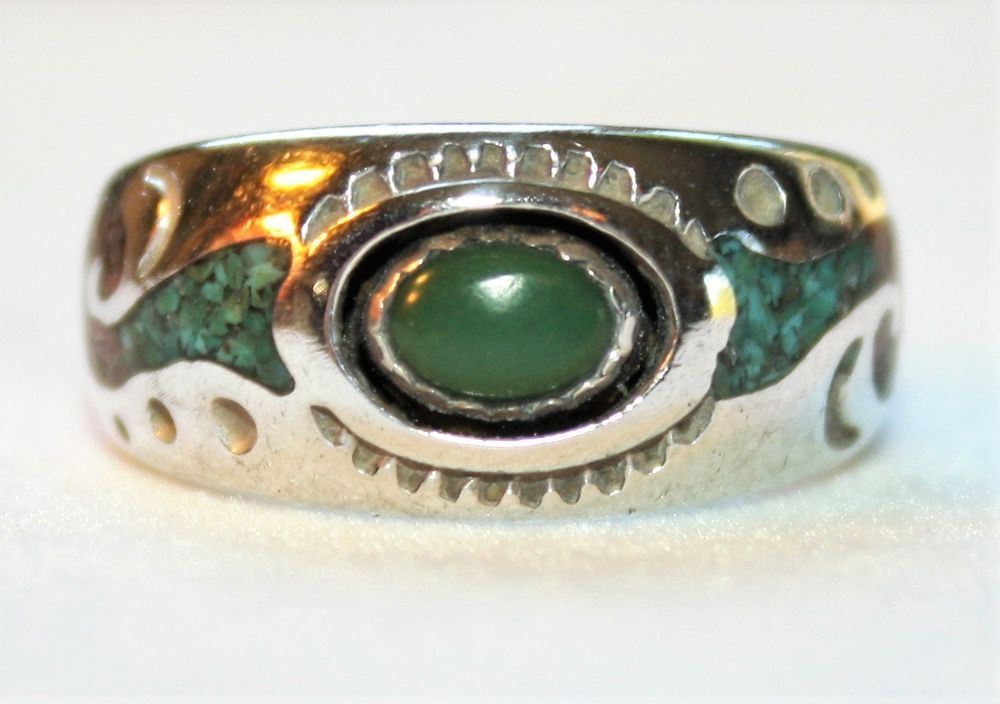 1970s Vintage Jewelry Sterling Silver Native American Inspired Circle J W. 925 Leaf Flower Jack Whittaker Sterling Silver Abalone Ring