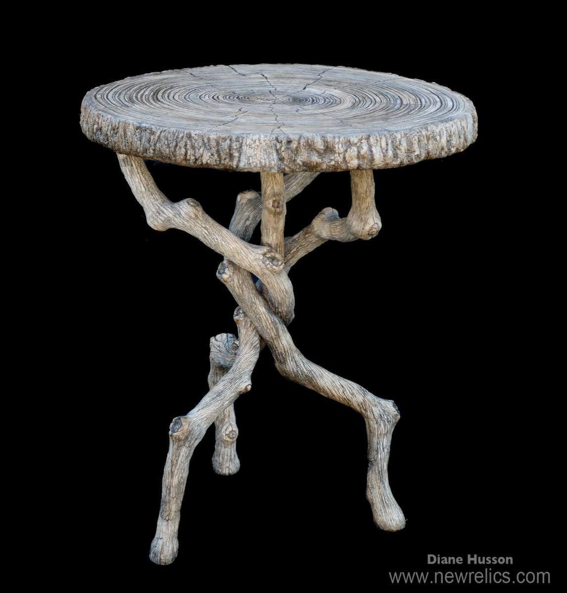 Concrete Faux Bois Outdoor Garden Bistro Table By Sculptor Diane Husson