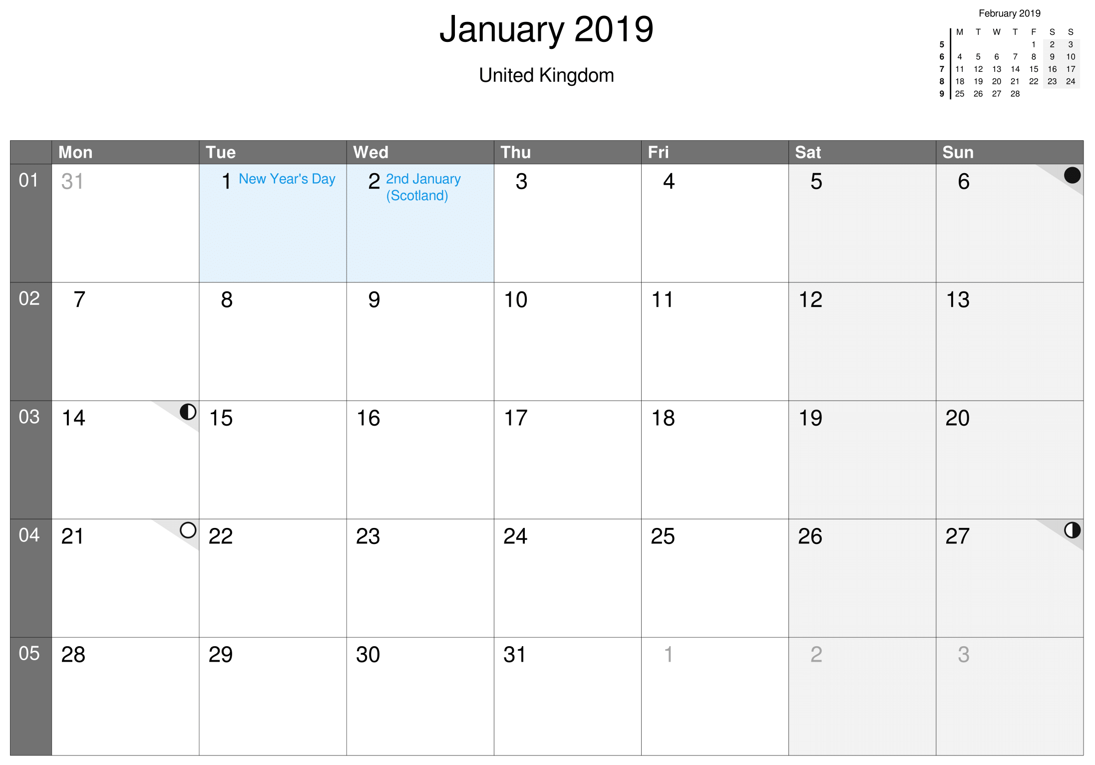 January 2019 Calendar United Kingdom | 2019 calendar, Calendar uk, Calendar  printables