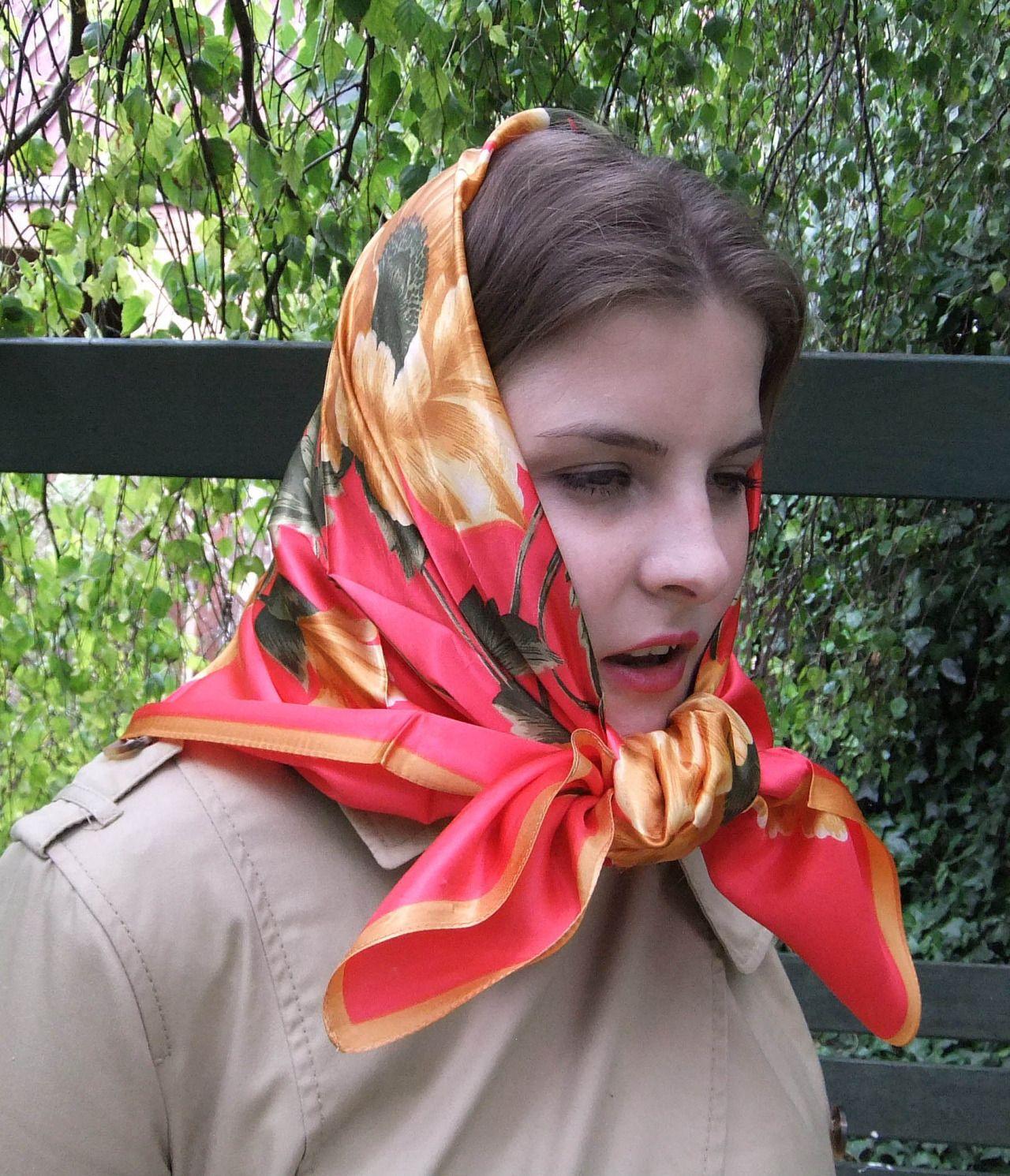 Sabine - head scarf tied under chin   Women silk scarves ...