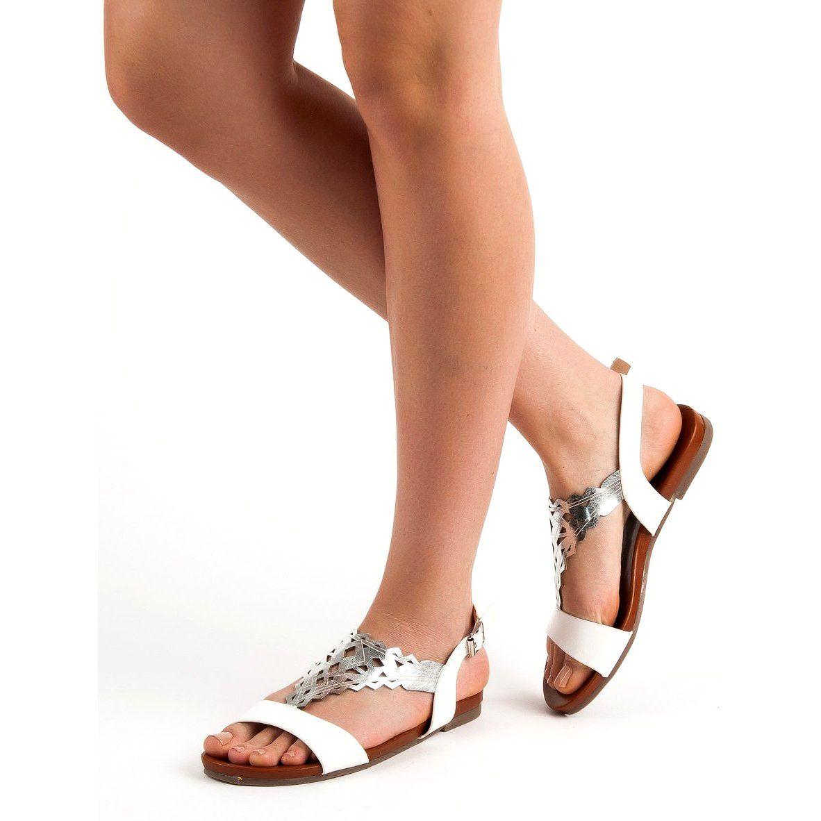 Sandaly Damskie Kylie Kylie Biale Stylowe Plaskie Sandalki Womens Sandals Sandals Stylish Flats
