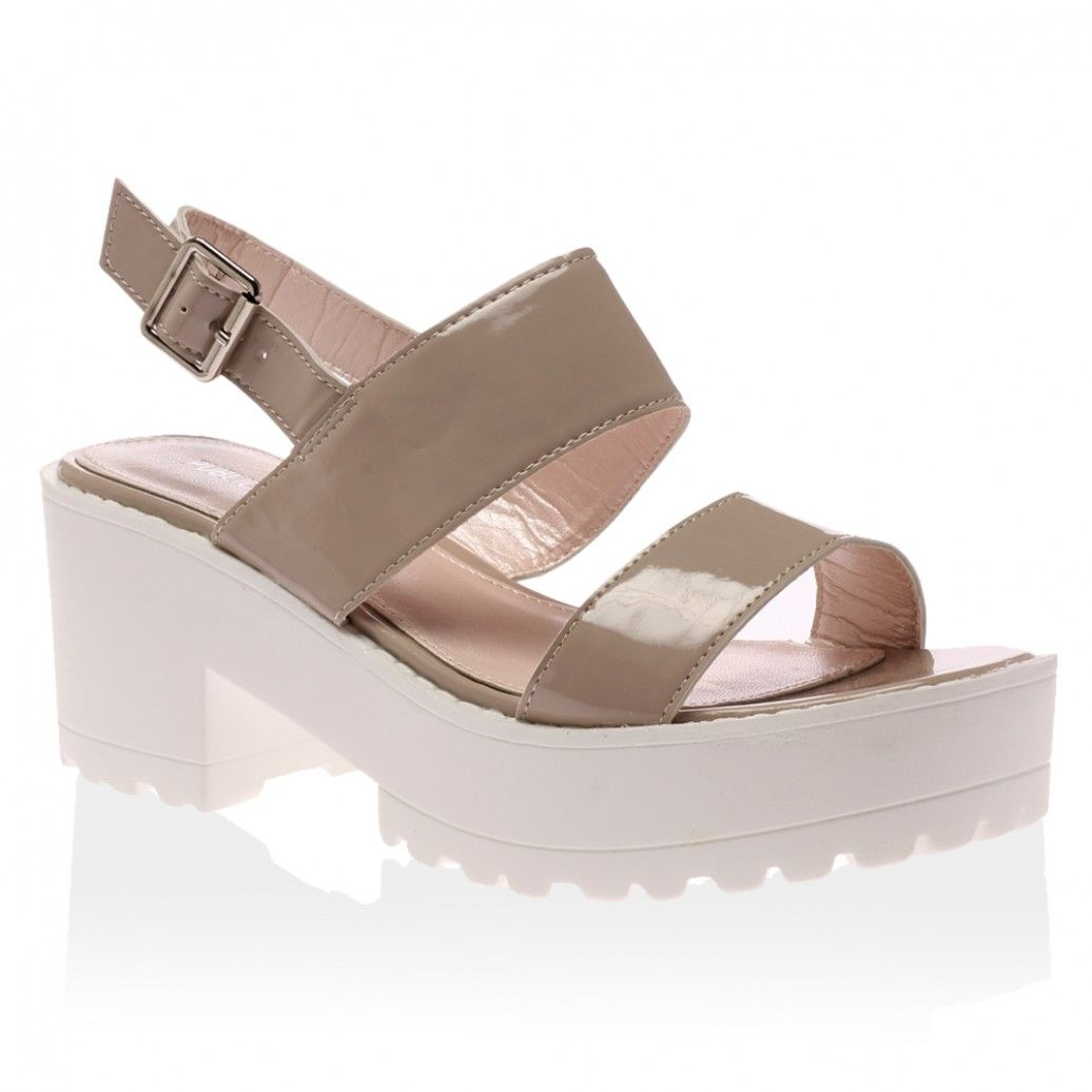 d0e95fe30cfe68 Frances Nude Strappy Platform Sandals