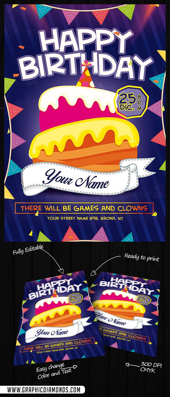 Kids Happy Birthday Flyer Psd By Graphicdiamonds On Creative Market