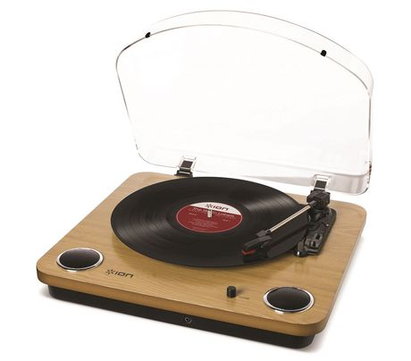 Ion Audio Ion Max Lp Conversion Turntable With Stereo Speakers Natural Wood 7 In 10 In 12 In Turntable Turn Table Vinyl Lp Record Player