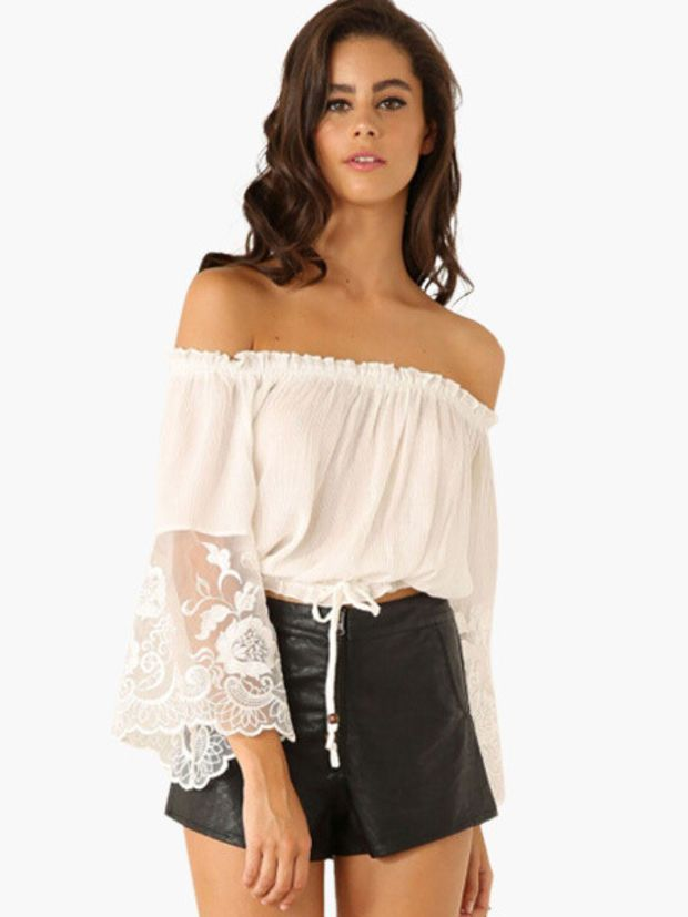 002d0b2c6da Off Shoulder Floral Lace Bell Sleeve Garter Cropped Top | tops ...