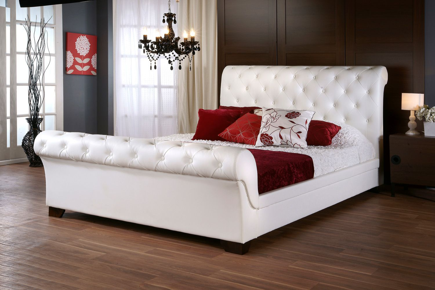 6ft Chesterfield White Faux Leather Bed Frame - £749.95 - LIMITED ...