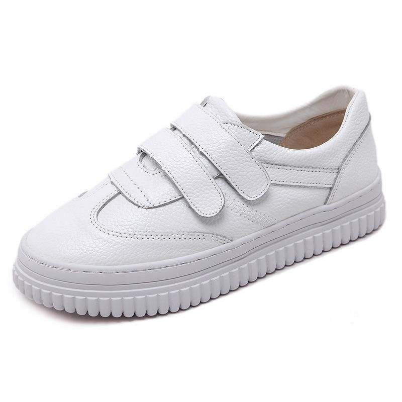 48d63ac9cc9a Velcro White Genuine Leather Women Sneakers Casual Shoes 4615 ...