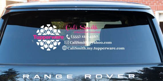 TUPPERWARE Vinyl Rear Window Decal Customize With Your Business - Window decals for business on car