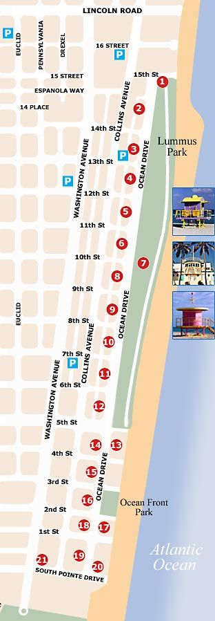 Ocean Drive Miami Beach Map