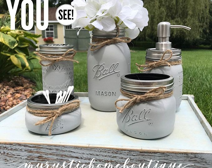 Set of 4 Mason Jar Bathroom Set, Hand Painted Mason Jars, Mason Jar Soap Dispenser, Country Deocr, Housewarming Gift, Bathroom Decor #masonjarbathroom