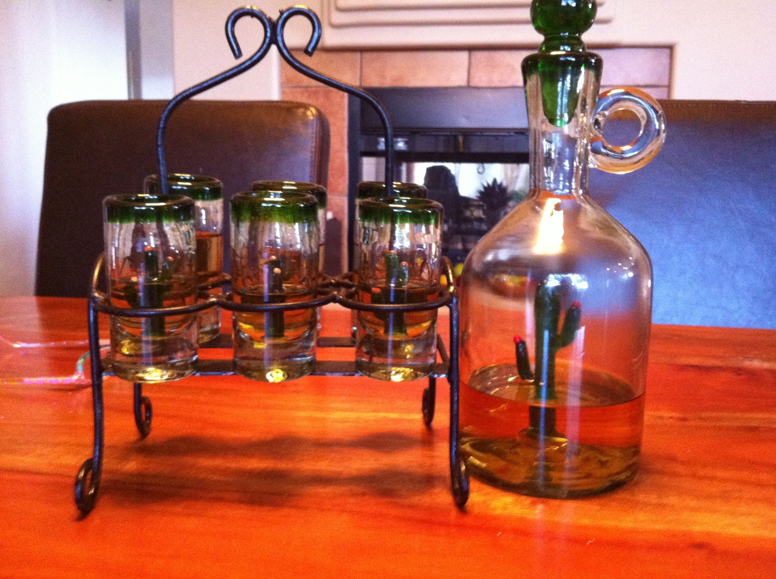 Shot Glasses And Tequila Decanter Hand Blown With A Cactus Inside Each One Bottles Decoration Shot Glasses Tequila