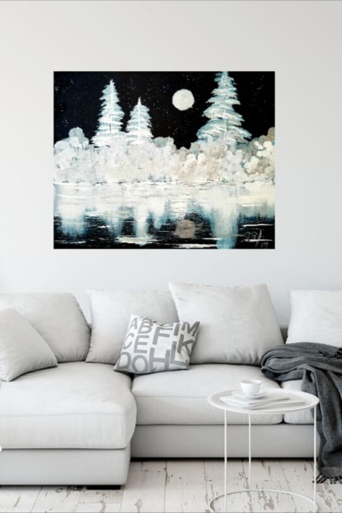 Black and white acrylic art abstract wall decor winter