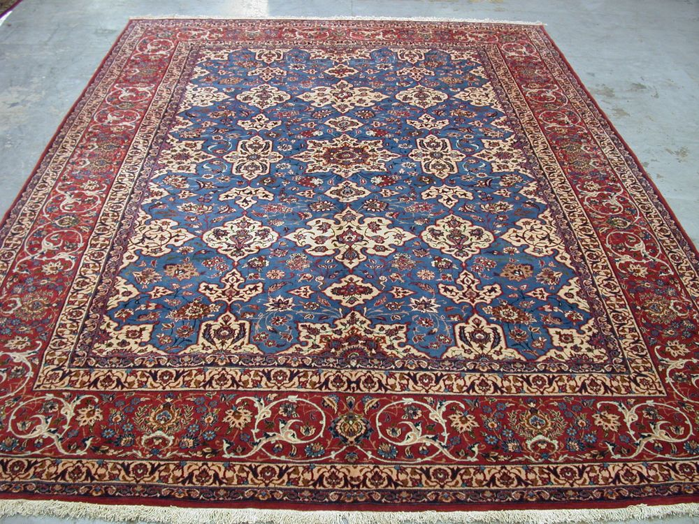 10x14 Antique Persian Oriental Fine Isfahan Hand Knotted Wool Blue Carpet Rug In Antiques Rugs Carpets Extra L Rugs On Carpet Rugs Hand Knotted Persian Rug