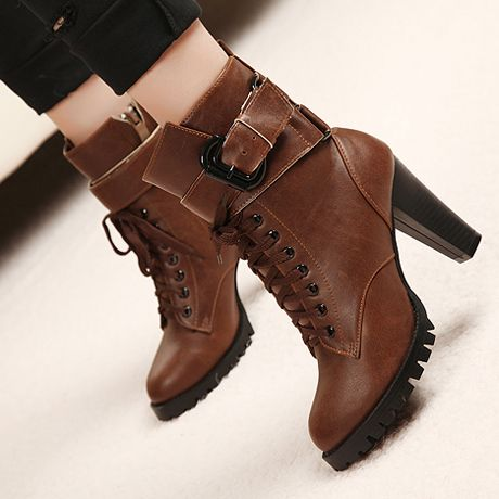 Brown Chunky Heel Ankle Boots | Lace, Lace up ankle boots and Brown